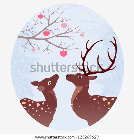 vintage illustration of two deer in a forest - stock vector