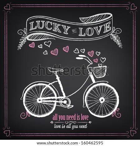 Vintage illustration of Valentine's Day or wedding - stock vector