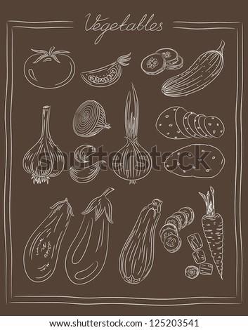 Vintage illustration of vegetables - stock vector