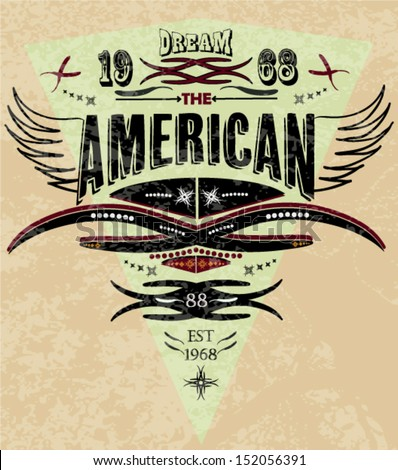 vintage illustration retro american graphic with eagle's wing and t-shirt printing - stock vector