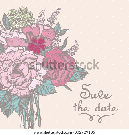 Vintage illustration with a bouquet of flowers. Hand drawing. Vector. Illustration for greeting cards, invitations, and other printing projects.