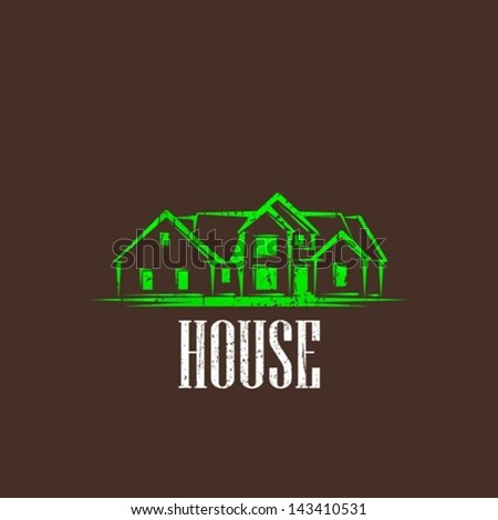 vintage illustration with a house. real estate sign - stock vector