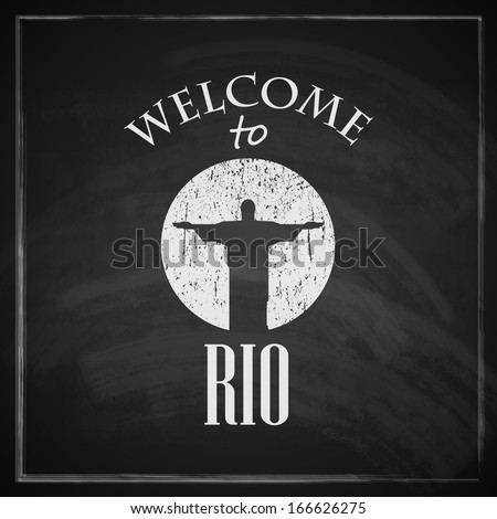 vintage illustration with christ the redeemer statue. brazilian landmark. travel concept with chalkboard texture . welcome to Rio de janeiro  - stock vector
