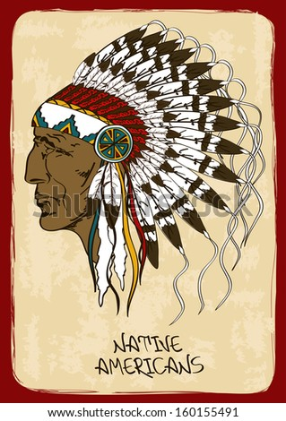 Vintage illustration with hand drawn Native American Indian chief - stock vector