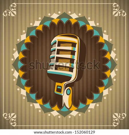 Vintage illustration with microphone. Vector illustration. - stock vector
