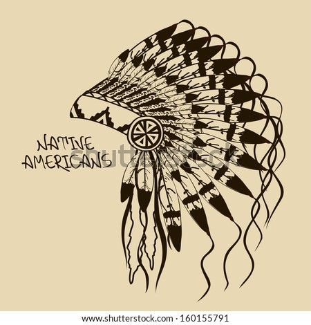 Vintage illustration with Native American Indian chief headdress - stock vector