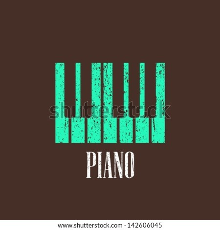 vintage illustration with piano - stock vector