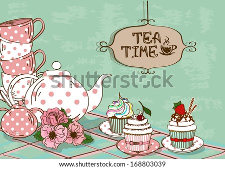Vintage illustration with still life of tea set and fancy cupcakes - stock vector