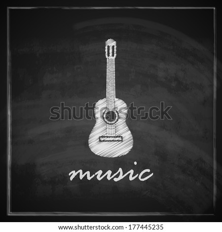 vintage illustration with the guitar on blackboard background. music illustration - stock vector