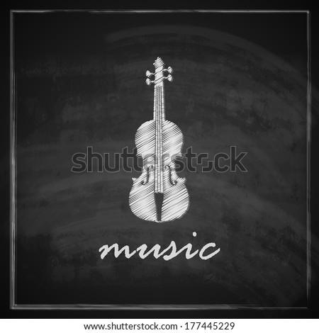 vintage illustration with the violin on blackboard background. music illustration - stock vector
