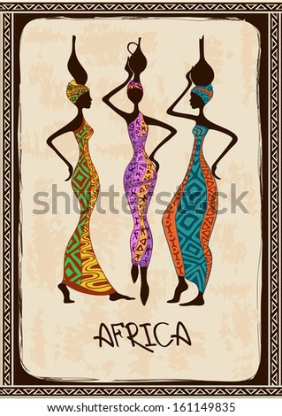 Vintage illustration with three beautiful slim African women in colorful ethnic patterned dresses - stock vector