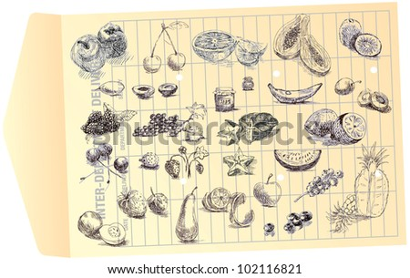 """vintage image - hand drawing converted to vector lines - """" JUST DOODLING """" - COLLECTION OF FRUIT - stock vector"""