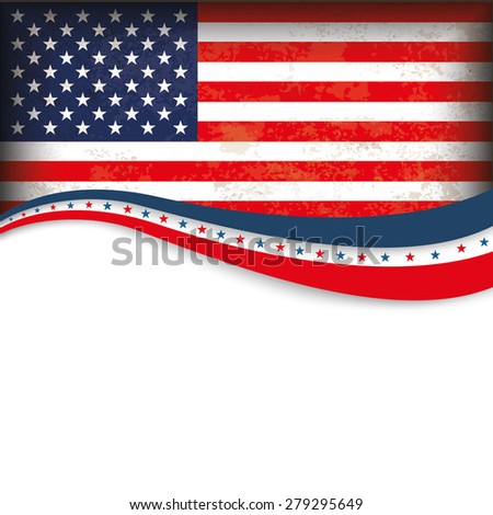 Vintage independence day background design with US-Flag. Eps 10 vector file.