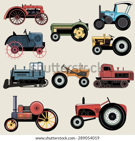 Vintage Industrial transportation tractor vector set for construction, maintenance and  agriculture needs.  - stock vector