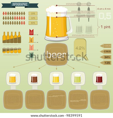 Vintage infographics set - beer icons and elements for presentation and graph - vector illustration - stock vector