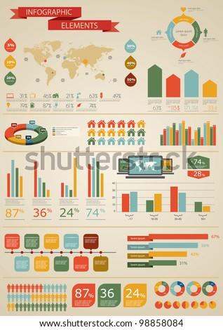 Vintage infographics set world map information vectores en stock vintage infographics set world map and information graphics gumiabroncs Image collections