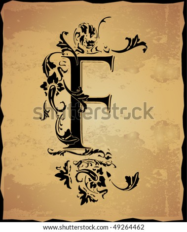 Vintage initials letter f - stock vector