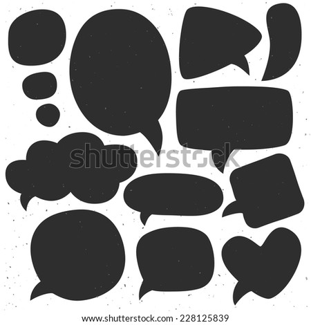 Vintage ink speech bubbles. Different sizes and forms. Hand drawn vector illustration. - stock vector