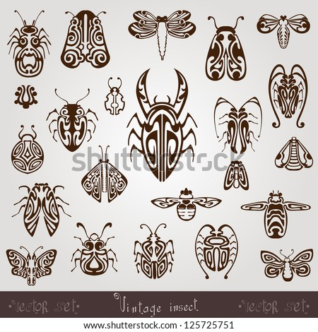 vintage insect silhouette set - stock vector