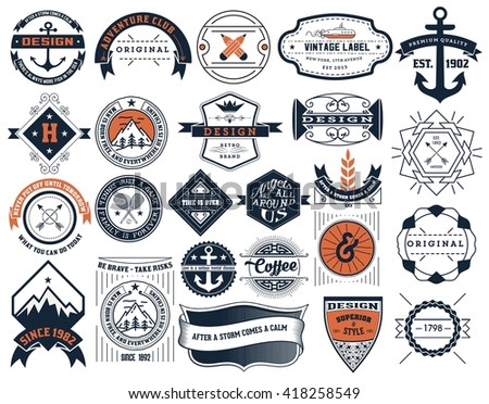 Vintage Insignias and logotypes set. Vector design elements, logos, identity, objects, labels,and badges. - stock vector