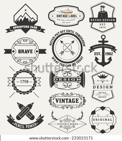 Vintage Insignias / logotypes set. Vector design elements, logos, identity, objects, labels,and badges. - stock vector