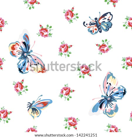 Vintage inspired vector floral seamless pattern with roses and butterflies. - stock vector