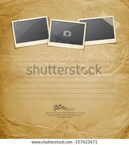 Vintage Instant photo on old paper design background, Vector illustration - stock vector