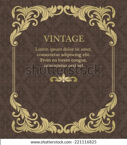 Vintage  invitation border and frame template - stock vector