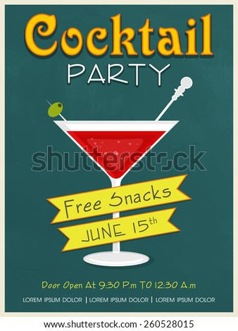 Vintage invitation card design for Cocktail Party with free snacks offer. - stock vector