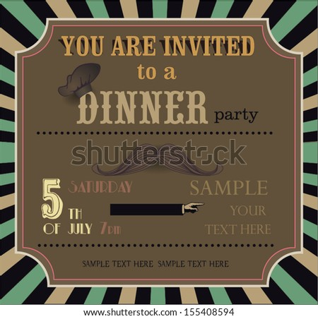 Vintage invitation card dinner party stock vector 155408594 vintage invitation card dinner party stopboris Gallery