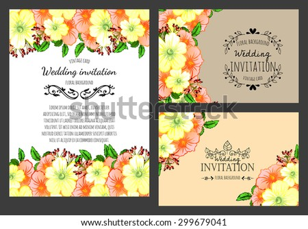 Vintage invitation card of beautiful flowers. Easy to edit. Perfect for invitations or announcements.