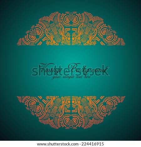 Vintage invitation card.Ornate element for design.Ornamental lace pattern for wedding invitations,greeting cards and so on - stock vector