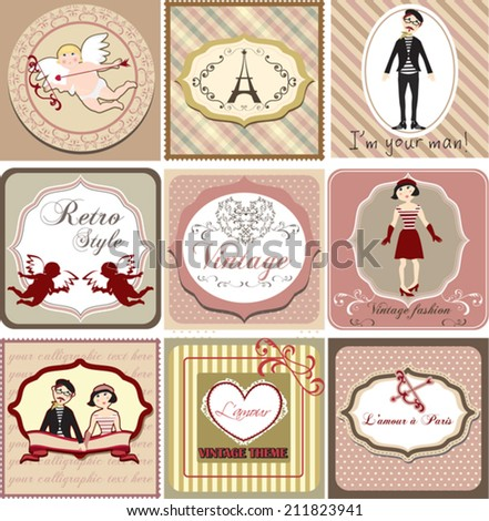 Vintage  invitation card  set with love theme, vector illustration. Translation: Love in Paris.