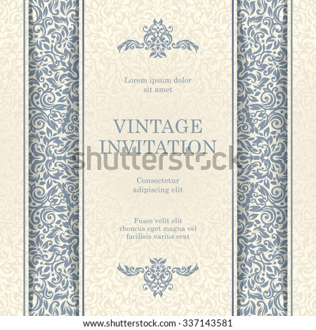 Vintage invitation card template.