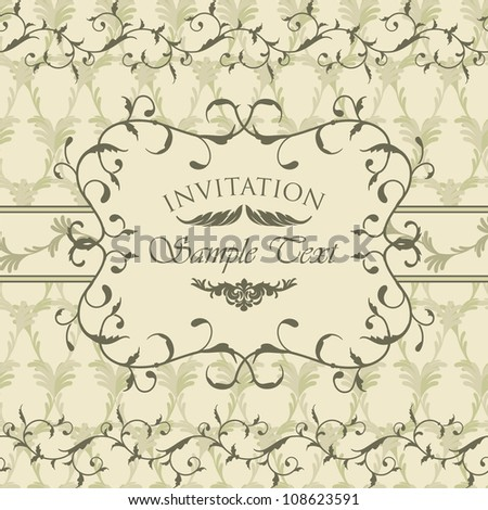 Vintage invitation card with calligraphic frame