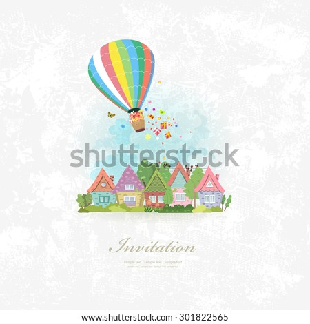 vintage invitation card with hot air balloon over the city with gifts - stock vector