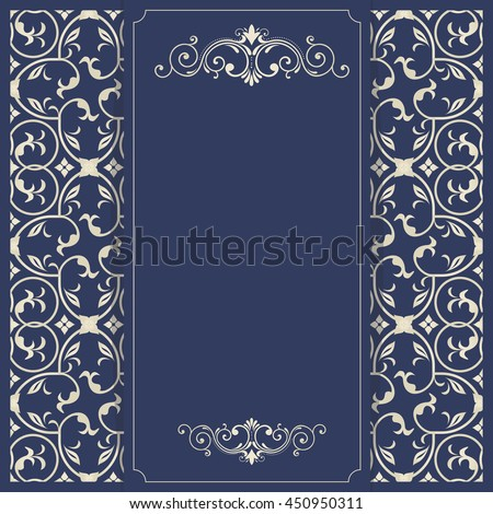 Vintage invitation card with Turkish pattern in dark blue and gold colors. Template greeting card, invitation and advertising banner, brochure with space for text. - stock vector