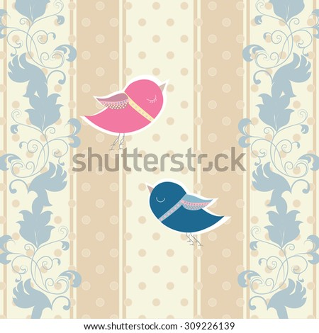 Vintage Invitation card with Two pigeons for  wedding ceremony. Vector in blue color - stock vector
