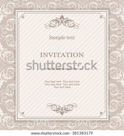 Vintage invitation card with Victorian ornaments