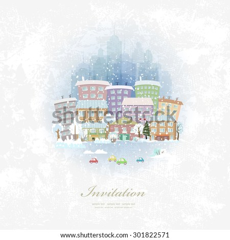 vintage invitation card with winter city scenery - stock vector