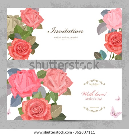 vintage invitation cards with lovely roses with love for your design