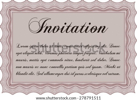 Vintage invitation. Customizable, Easy to edit and change colors.Complex background. Beauty design.  - stock vector