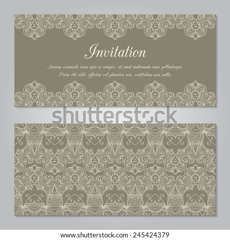 Vintage invitation decoration with lace ornament. Template jewelry detailed lace design. Can be used for packaging, invitations, scrapbooking.