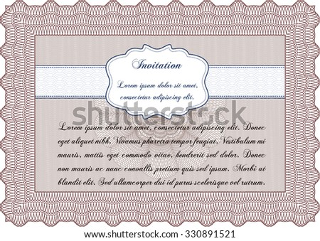Vintage invitation. Detailed.With linear background. Cordial design.