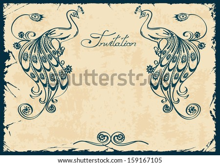Vintage invitation or card with blue outline peacock  - stock vector