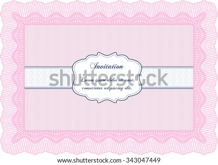Vintage invitation template. Border, frame.Good design. With great quality guilloche pattern.  - stock vector