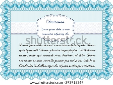 Vintage invitation template. Customizable, Easy to edit and change colors.With background. Excellent design.  - stock vector