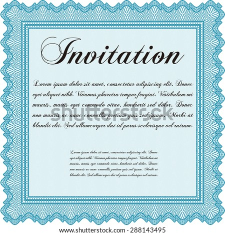 Vintage invitation template. Excellent complex design. Border, frame.With great quality guilloche pattern.
