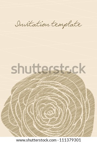 vintage invitation template with a rose contour. vector image. - stock vector