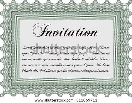 Vintage invitation template. With background. Complex design. Border, frame. - stock vector